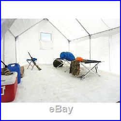 10 x 12 Canvas Wall Tent Bundle with Floor, Frame, & Outdoor Wood Stove Camp Cabin