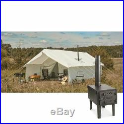 12' x 18' Canvas Wall Tent Bundle with Floor, Frame, Stove, Mesh, Rainfly & Porch