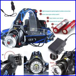 18650 XM-L T6 LED Headlight Head Light Lamp Zoomable 6000LM Battery Charger Lot