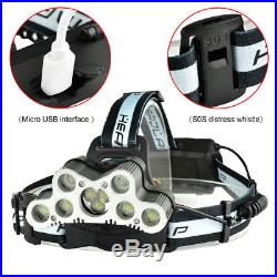200000LM 9LED Headlamp USB Rechargeable 18650 Headlight Torch Lamp+Cable+Battery