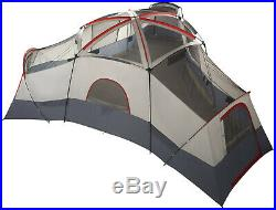 20 Person 4 Room Cabin Tent Family Separate Entrances Outdoor Shelter Camping