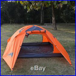 2 Person Orange Double Layer Outdoor Waterproof Camping Hiking Backpack Tent USA