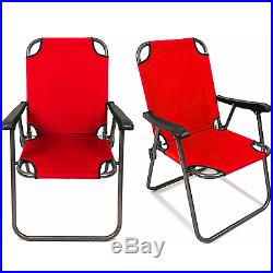 2 Red Outdoor Patio Folding Beach Chair Camping Chair Arm Lightweight Portable