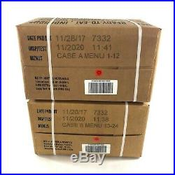 2 US Military MRE Cases, A & B Meals Ready To Eat Emergency Camping Hiking USGI