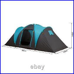 4 Man Family Tent Camping with 3 Rooms Fibreglass Poles 3000m Polyester