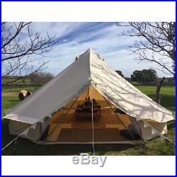 4-Season Waterproof Cotton Canvas Bell Tent Large Family Camp Hunting Yurt Tents