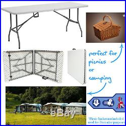 5FT Folding Table Trestle Catering Camping Picnic Party Indoor Outdoor