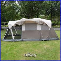 6 Person 3 Room Waterproof Camping Tent Double Layer Family Outdoor Hiking WithBag