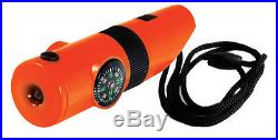 7in1 ORANGE Survival Whistle Compass Thermometer LED Flashlight Fire Magnifier