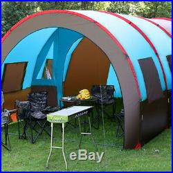 8 10 People Large Outdoor Tent Waterproof Tunnel Camping Hiking Double Layer