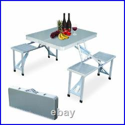 Aluminum Folding Portable Camping Picnic Table Stool Chair Set With Umbrella hole