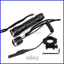 CREE LED T6 1000LM Tactical Flashlight Torch Pressure Switch Mount For outdoors