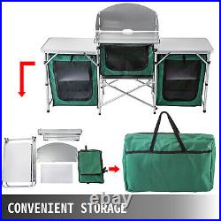 Camping Kitchen Picnic Cabinet Table Portable Folding Cook Storage Rack Green