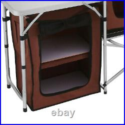 Camping Kitchen Table Picnic Cabinet Table Portable Folding Cooking Storage Rack