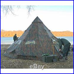 Camping Tent Teepee Survival 6 Person Heavy Duty Waterproof Outdoor Hiking Camo