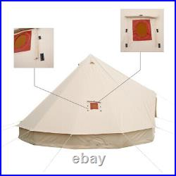 Cotton Canvas 5M Bell Tent Glamping Waterproof Family Yurts Stove Jack 4-Season