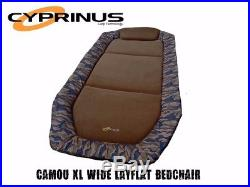 Cyprinus Camouflage Wide Layflat Carp Fishing Bed Bedchair Camo Extra Large Wide