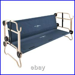 Disc-O-Bed Large Cam-O-Bunk Bunked Double Camping Cot with Organizers, Navy Blue