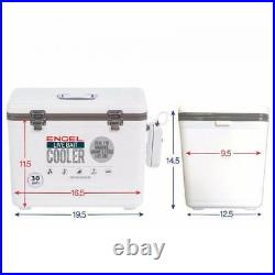 Engel 30 Quart Insulated Live Bait Fishing Dry Box Cooler with Water Pump, White