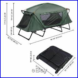 Folding Single Camping Tent Cot Portable Outdoor Hiking Bed Rain Fly Green