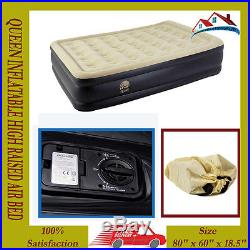 Inflatable Queen High Raised Air Bed Mattress Air Bed Built In Electric Pump