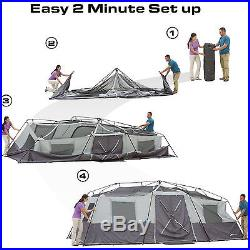 Instant Cabin Tent 12 Person Outdoor Camping Shelter Family Hiking Travel Gray