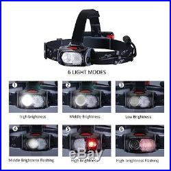 LITOM Waterproof Rechargeable LED Headlamp for Emergency Caving Hiking Camping