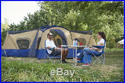 Large 14 Person Camp Cabin Tent with 4 Rooms Outdoor Camping Shelter Tents Blue