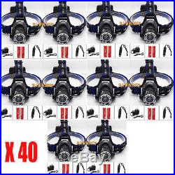 Lot 50 7000LM XML T6 LED Headlamp Head Light Torch + 18650 Battery + Charger UB