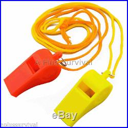 Lot of 100 Plastic Whistle & Lanyard Emergency Survival