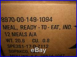 Military MRE Meal Ready to Eat Ration Survival A Case 12 Meals 3/2020 Inspection