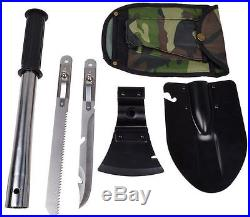 Military Survival Emergency Camping Hiking Knife Shovel Axe Saw Gear Kit Tools