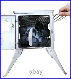Outbacker Firebox'Flame' Stainless Clear View Portable Wood Burning Stove