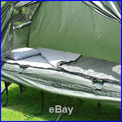 Outdoor 1-person Folding Tent Elevated Camping Cot withAir Mattress Sleeping Bag