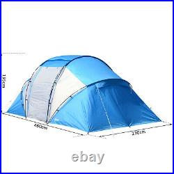 Outsunny 4-6 Persons Camping Tent Dome Family Travel Group Hiking Room Fishing