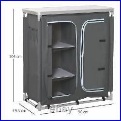 Outsunny Outdoor Aluminum 3-shelf Camping Cupboard Kitchen Station Cook Table