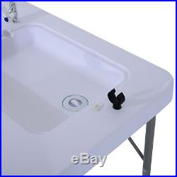 Outsunny Portable Fish Table Cleaning Cutting Camping Foldable with Faucet & Sink