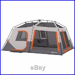 Ozark Trail 10 Person 2 Room Instant Cabin Tent + Led Light Poles Family Camping