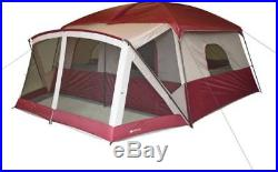 Ozark Trail 12-Person Cabin Tent With Screen Porch Camping Hiking Outdoor Red Ne