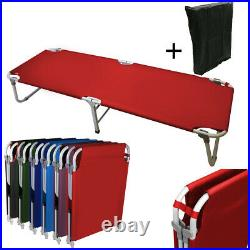 Portable 24.5 W Military Cots Fold Up Bed Hiking Travel Camping Red+Free Bag
