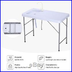 Portable Folding Table Fish Fillet Hunting Cleaning Cutting Camping Sink Faucet