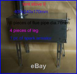 Portable Stainless Steel Wood Heater Tent Stove Camping Fishing Outdooring