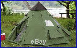 Teepee Tent 6 Person Family Camping Military Hiking Outdoor Survival Green