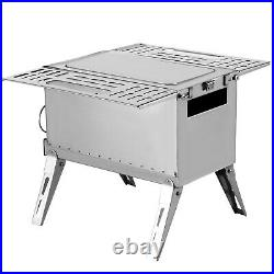 Tent Wood Stove Camping Wood Stove SS304, with Folding Pipe, 90.6Total Height