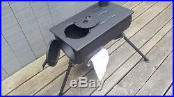 The Shasta Stove, a portable camping wood stove, tent heater, ice fishing heater