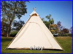 US Ship 2M Canvas Camping Pyramid Tipi Tent Big Indian Teepee Tent for 2-3Person