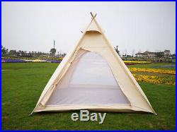 US Ship Canvas Camping Pyramid Tipi Tent Adult Indian Teepee Tent for 23 Person