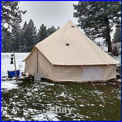 VEVOR 7M Cotton Canvas Tent Bell Yurt Glamping Wall With Stove