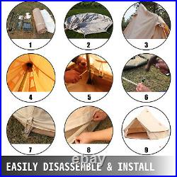 VEVOR Canvas Bell Tent Hunting Wall Tents 4-Season 3-5 People for Camping/Hiking