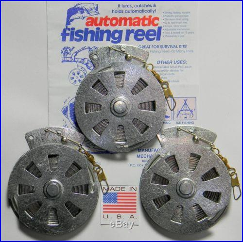 YoYo Automatic Fishing Reels Mechanical Fishers Wire Trigger 3 Pack Survival Kit